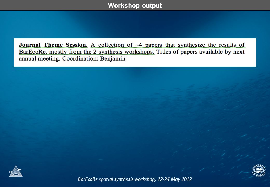 BarEcoRe spatial synthesis workshop, 22-24 May 2012 Workshop output