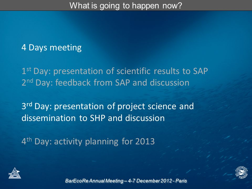 BarEcoRe Annual Meeting – 4-7 December 2012 - Paris What is going to happen now? 4 Days meeting 1 st Day: presentation of scientific results to SAP 2