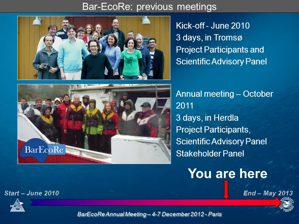BarEcoRe Annual Meeting – 4-7 December 2012 - Paris Bar-EcoRe: previous meetings Kick-off - June 2010 3 days, in Tromsø Project Participants and Scien