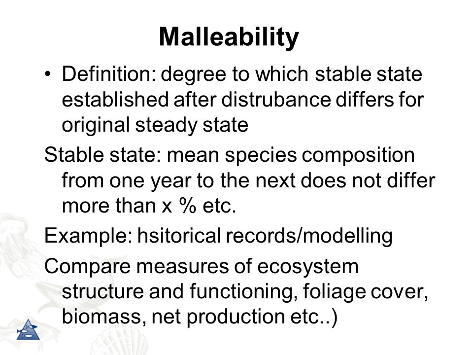 Definition: degree to which stable state established after distrubance differs for original steady state Stable state: mean species composition from o
