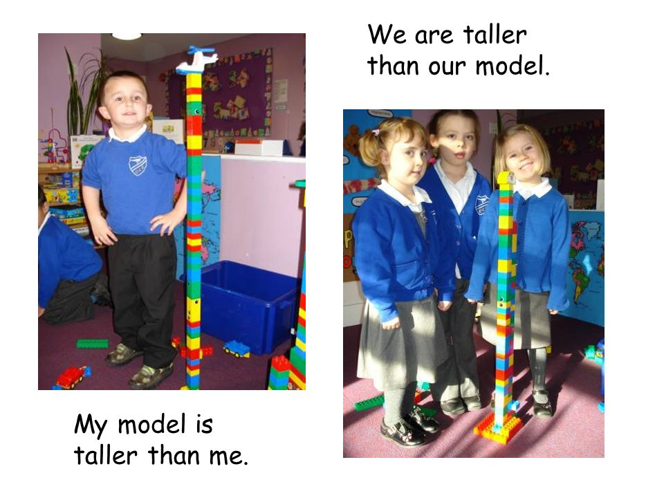 My model is taller than me. We are taller than our model.