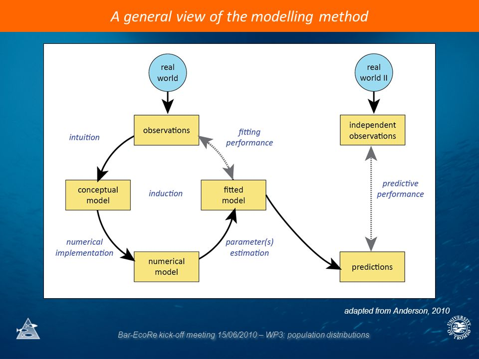 Bar-EcoRe kick-off meeting 15/06/2010 – WP3: population distributions A general view of the modelling method adapted from Anderson, 2010
