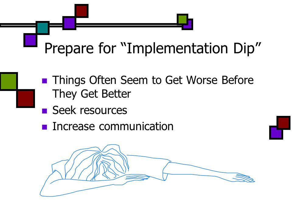 Prepare for Implementation Dip Things Often Seem to Get Worse Before They Get Better Seek resources Increase communication