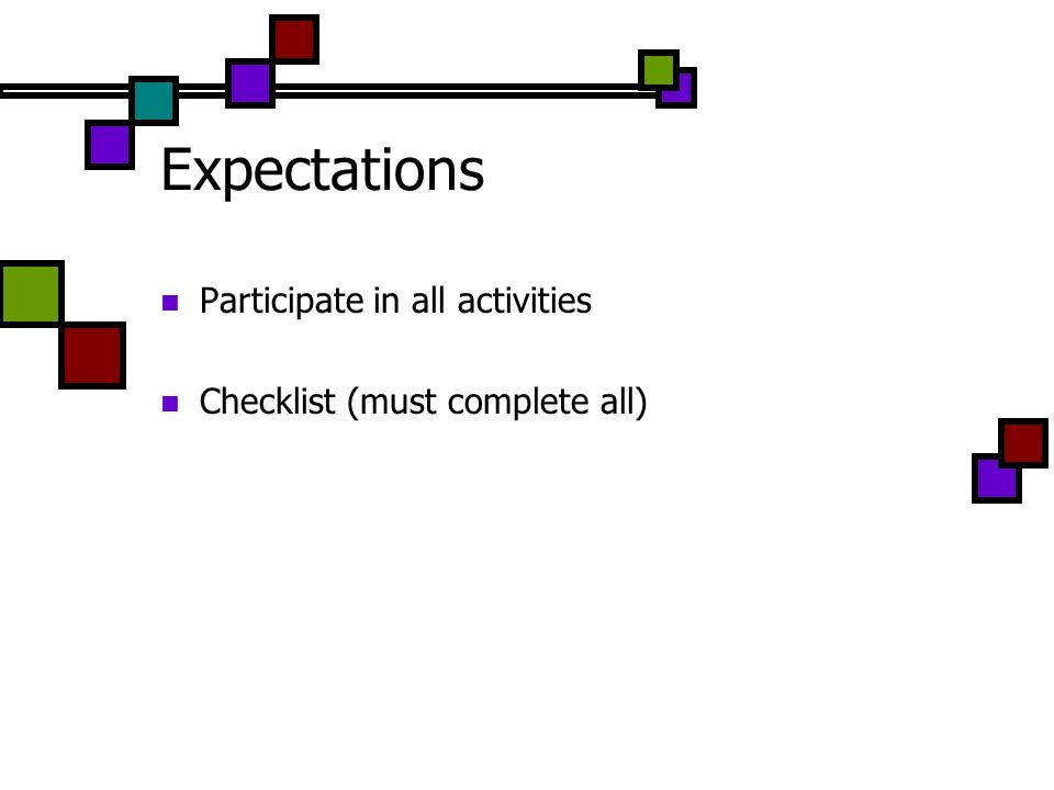 Expectations Participate in all activities Checklist (must complete all)
