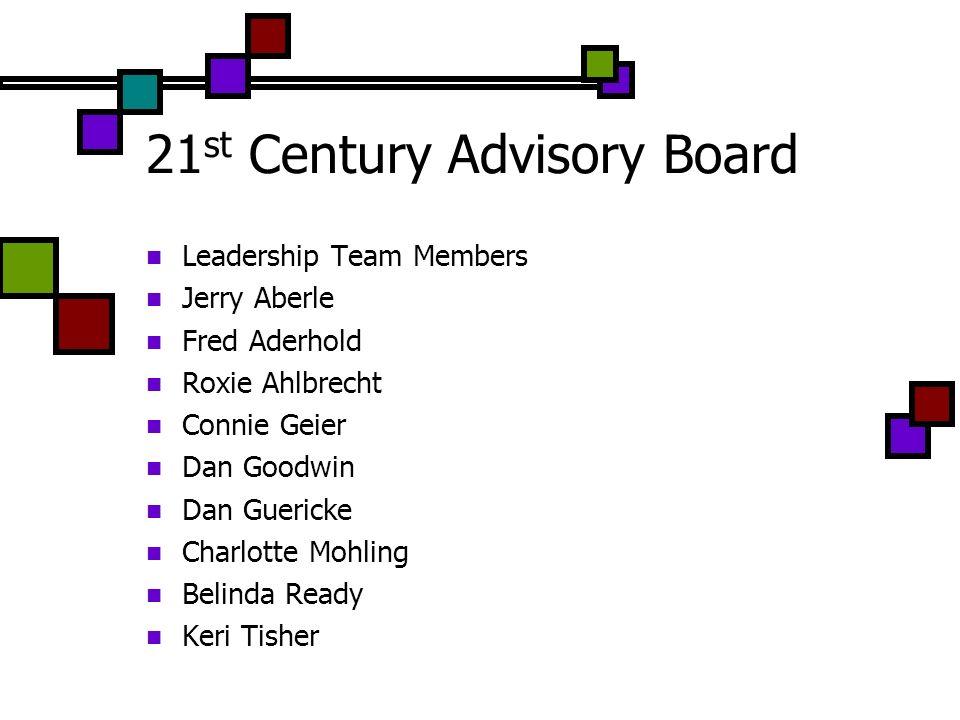 21 st Century Advisory Board Leadership Team Members Jerry Aberle Fred Aderhold Roxie Ahlbrecht Connie Geier Dan Goodwin Dan Guericke Charlotte Mohling Belinda Ready Keri Tisher