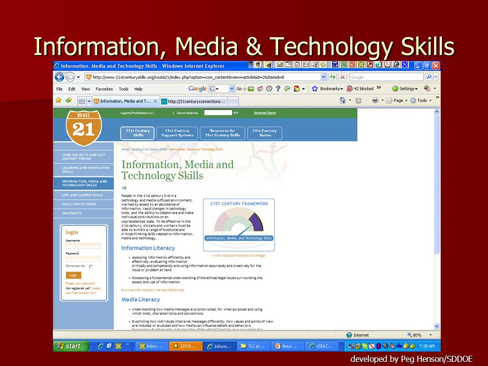 developed by Peg Henson/SDDOE Information, Media & Technology Skills