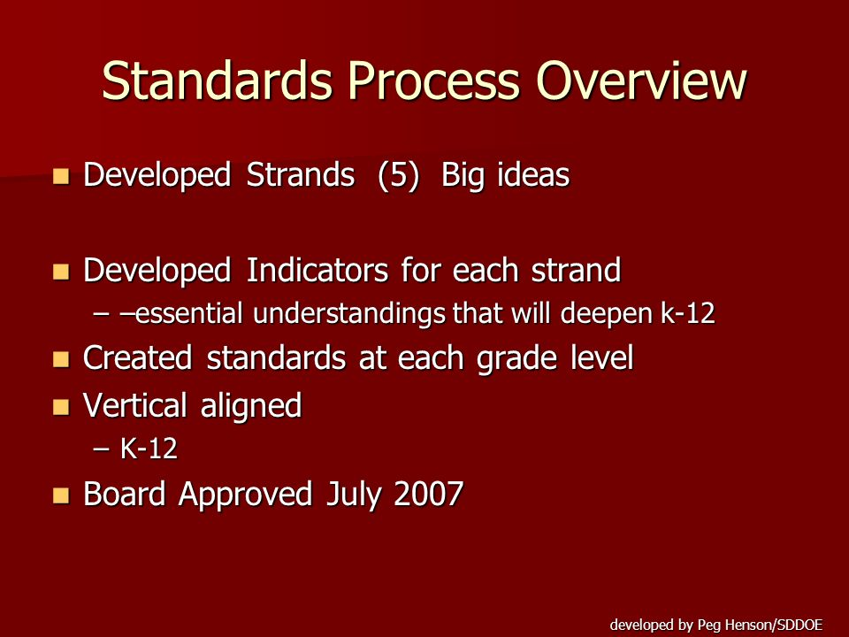 developed by Peg Henson/SDDOE Standards Process Overview Developed Strands (5) Big ideas Developed Strands (5) Big ideas Developed Indicators for each