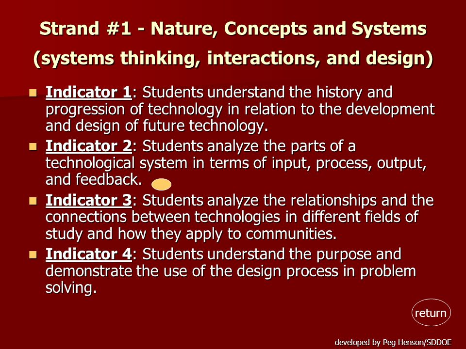 developed by Peg Henson/SDDOE Strand #1 - Nature, Concepts and Systems (systems thinking, interactions, and design) Indicator 1: Students understand t