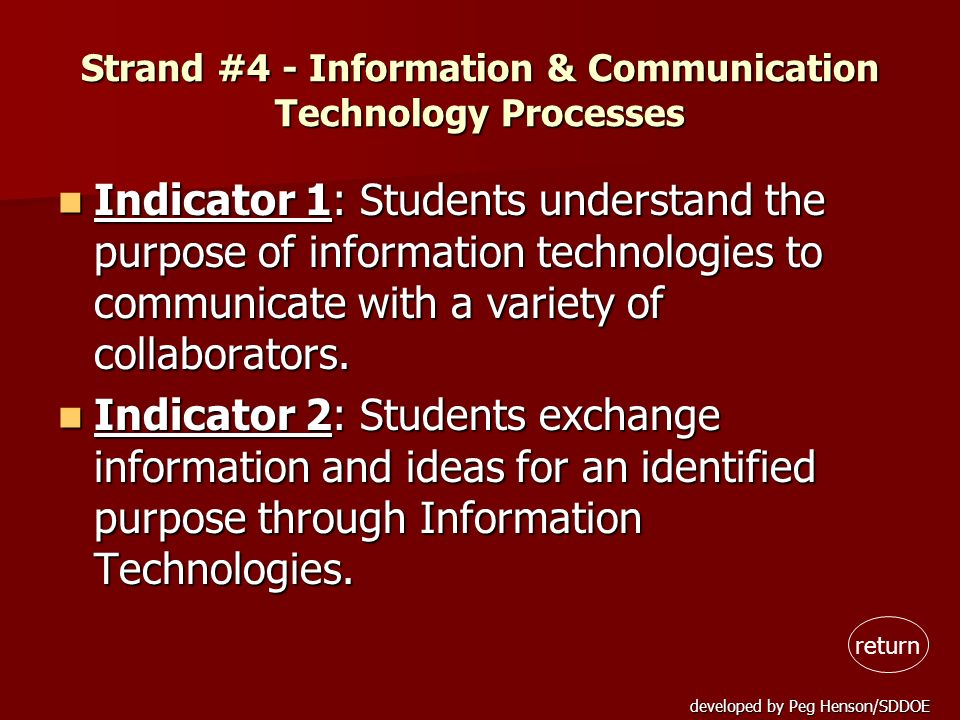 developed by Peg Henson/SDDOE Strand #4 - Information & Communication Technology Processes Indicator 1: Students understand the purpose of information