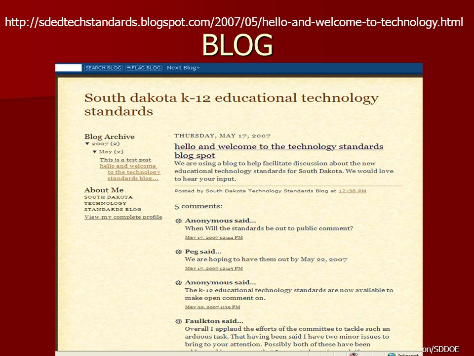 developed by Peg Henson/SDDOE BLOG http://sdedtechstandards.blogspot.com/2007/05/hello-and-welcome-to-technology.html