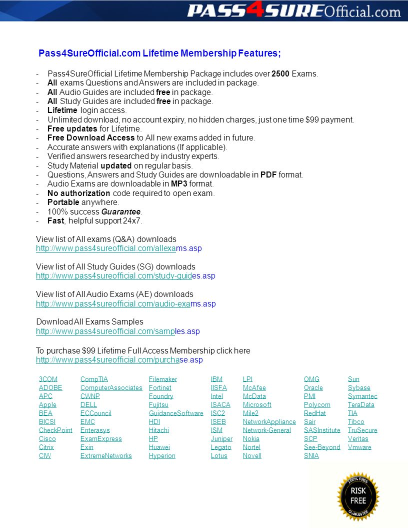Pass4SureOfficial.com Lifetime Membership Features; - - - - - - - - - - - - - - - - - Pass4SureOfficial Lifetime Membership Package includes over 2500