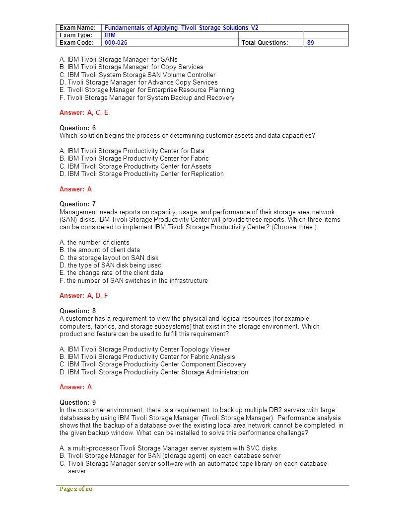 Exam Name: Exam Type: Exam Code: Fundamentals of Applying Tivoli Storage Solutions V2 IBM 000-026Total Questions:89 D.