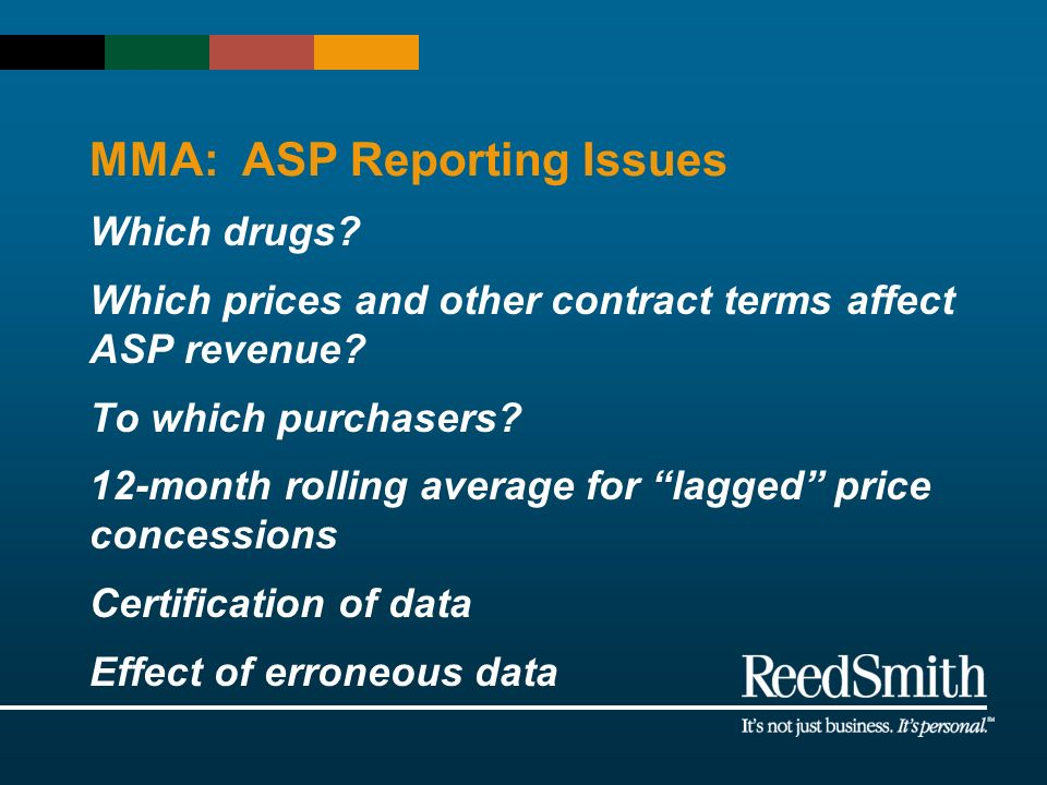 MMA: ASP Reporting Issues Which drugs? Which prices and other contract terms affect ASP revenue? To which purchasers? 12-month rolling average for lag
