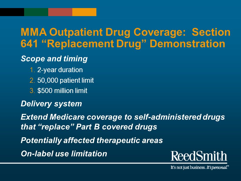 MMA Outpatient Drug Coverage: Section 641 Replacement Drug Demonstration Scope and timing 1.2-year duration 2.50,000 patient limit 3.$500 million limi