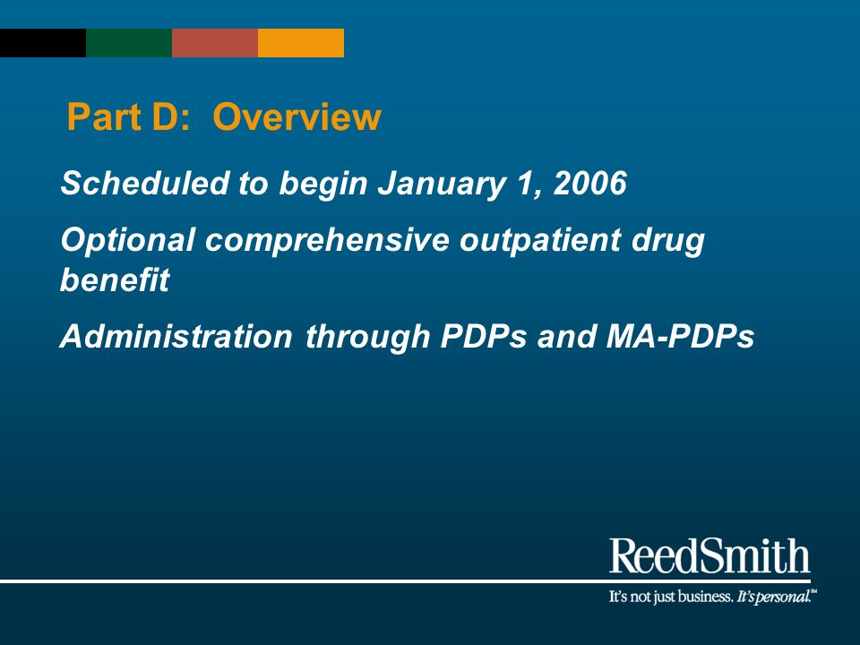 Part D: Overview Scheduled to begin January 1, 2006 Optional comprehensive outpatient drug benefit Administration through PDPs and MA-PDPs