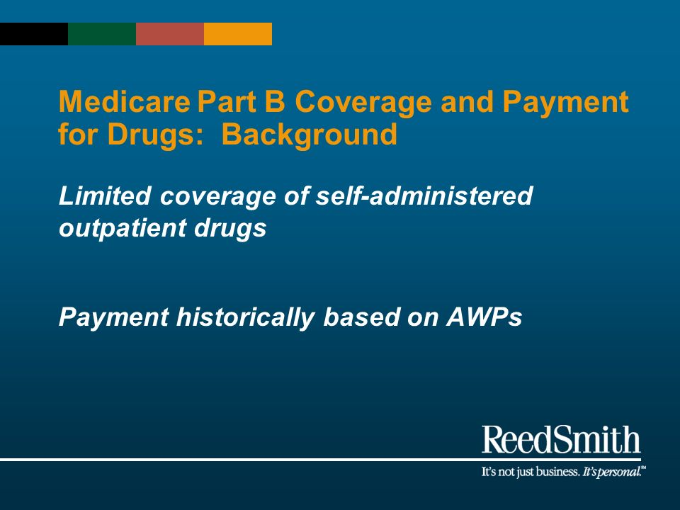 Medicare Part B Coverage and Payment for Drugs: Background Limited coverage of self-administered outpatient drugs Payment historically based on AWPs