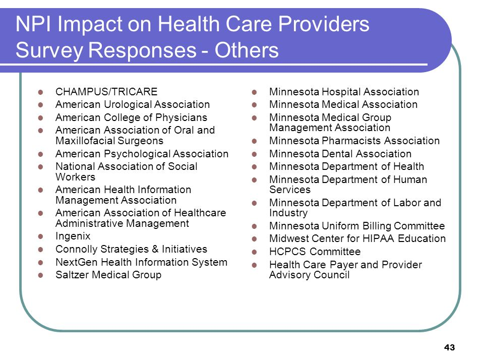 43 NPI Impact on Health Care Providers Survey Responses - Others CHAMPUS/TRICARE American Urological Association American College of Physicians Americ