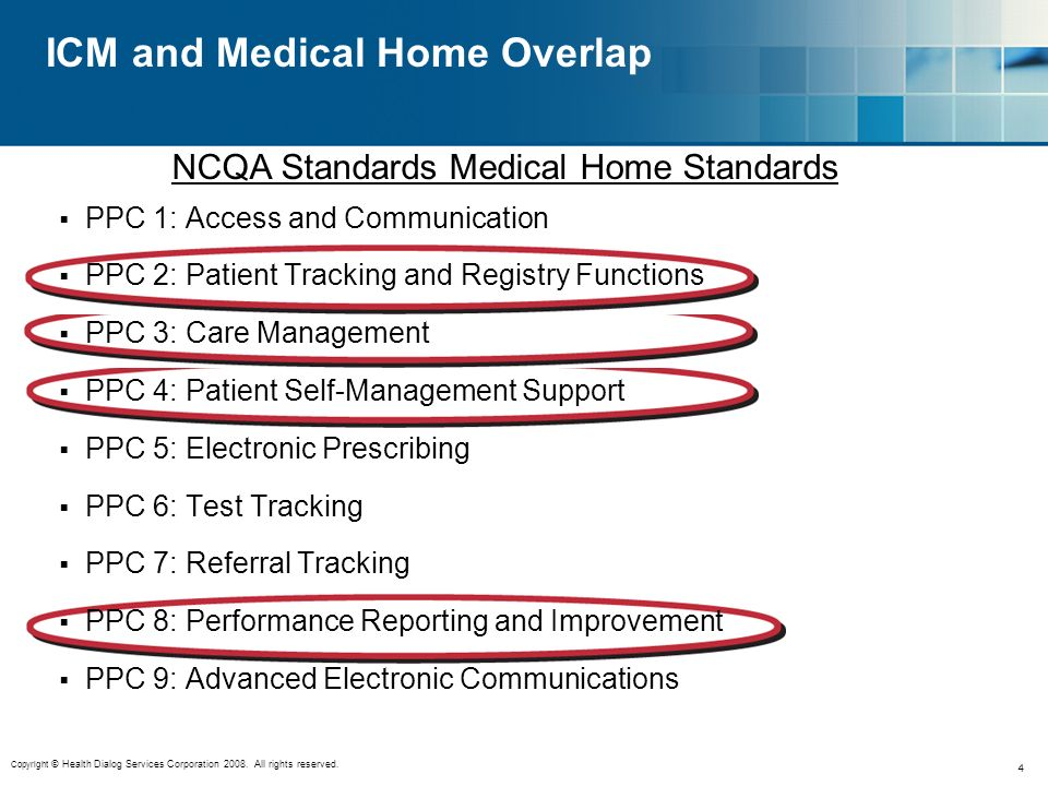 Copyright © Health Dialog Services Corporation 2008. All rights reserved. 4 ICM and Medical Home Overlap PPC 1: Access and Communication PPC 2: Patien