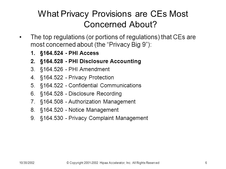 10/30/2002© Copyright 2001-2002 Hipaa Accelerator, Inc. All Rights Reserved6 What Privacy Provisions are CEs Most Concerned About? The top regulations