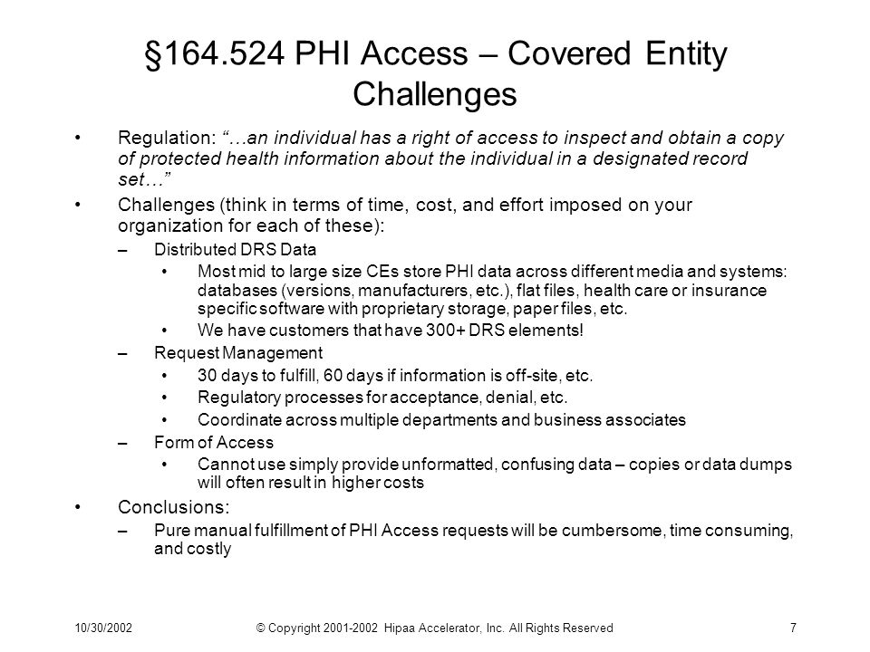 10/30/2002© Copyright 2001-2002 Hipaa Accelerator, Inc. All Rights Reserved7 §164.524 PHI Access – Covered Entity Challenges Regulation: …an individua