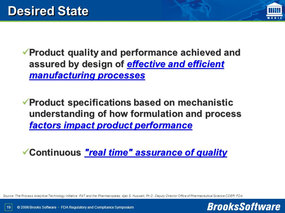 FDA Regulatory and Compliance Symposium© 2006 Brooks Software 19 Product quality and performance achieved and assured by design of effective and effic