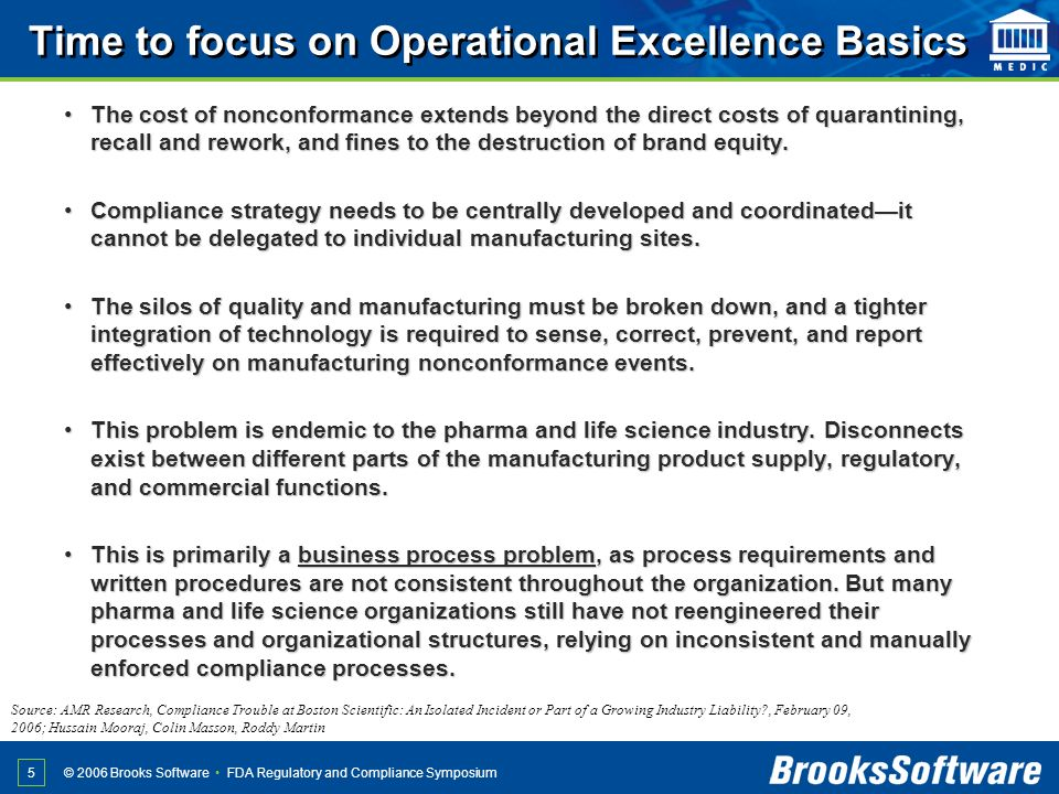 FDA Regulatory and Compliance Symposium© 2006 Brooks Software 5 Time to focus on Operational Excellence Basics The cost of nonconformance extends beyo