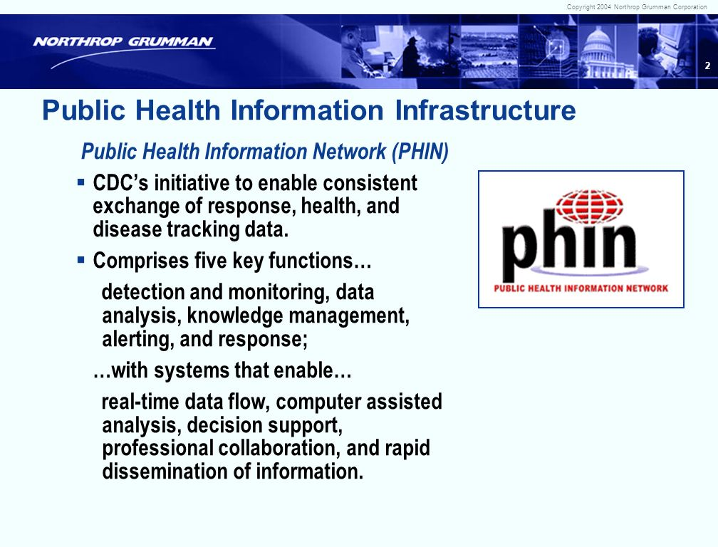 Copyright 2004 Northrop Grumman Corporation 1 Public Health Information Infrastructure, the Public Health Information Network, and Disease Surveillance