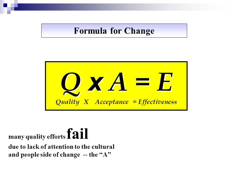 Q x A = E Quality X Acceptance = Effectiveness many quality efforts fail due to lack of attention to the cultural and people side of change -- the A F