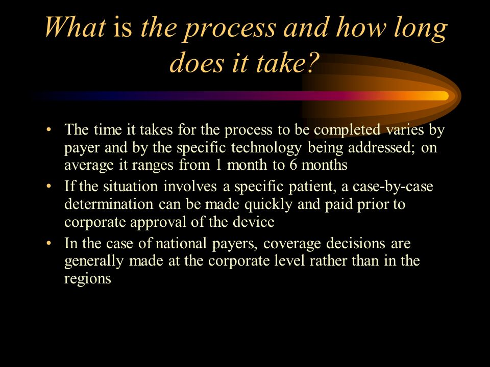 What is the process and how long does it take.