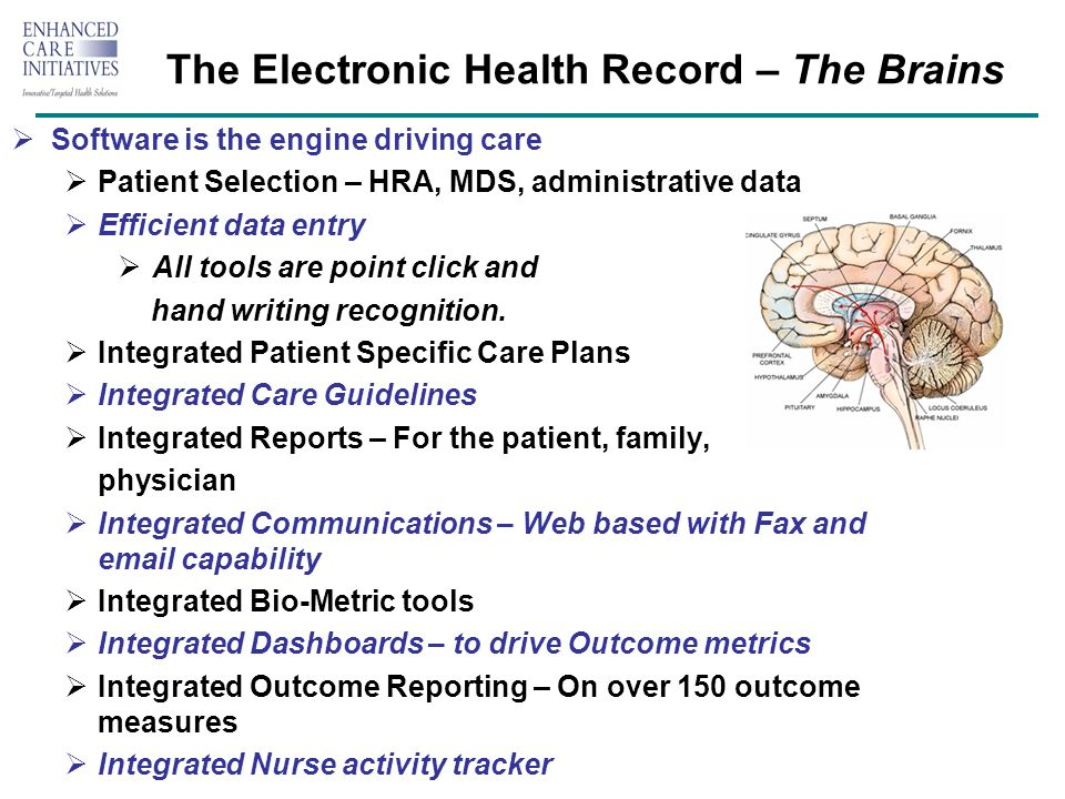 The Electronic Health Record – The Brains Software is the engine driving care Patient Selection – HRA, MDS, administrative data Efficient data entry All tools are point click and hand writing recognition.