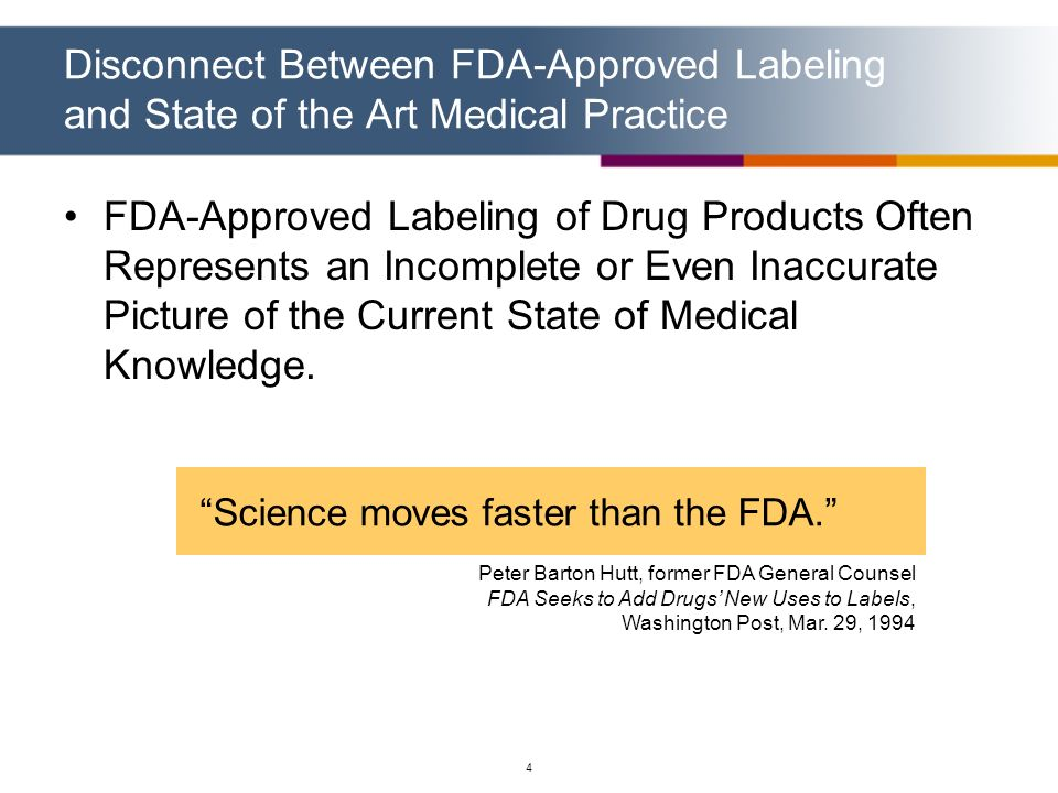 4 Disconnect Between FDA-Approved Labeling and State of the Art Medical Practice FDA-Approved Labeling of Drug Products Often Represents an Incomplete