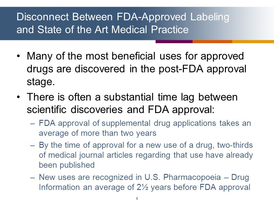 5 Disconnect Between FDA-Approved Labeling and State of the Art Medical Practice Many of the most beneficial uses for approved drugs are discovered in