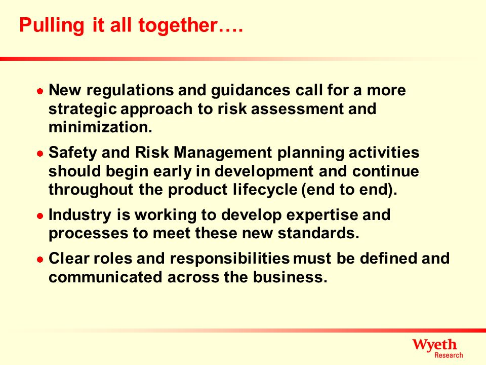 Pulling it all together…. New regulations and guidances call for a more strategic approach to risk assessment and minimization. Safety and Risk Manage