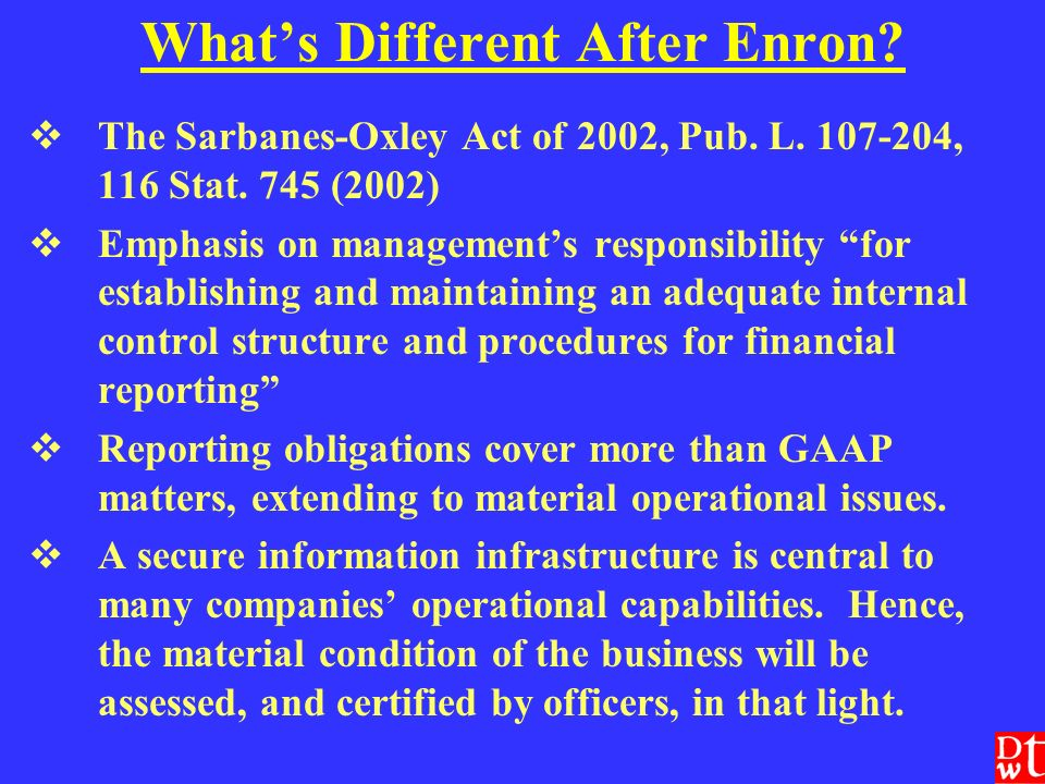 Whats Different After Enron. The Sarbanes-Oxley Act of 2002, Pub.