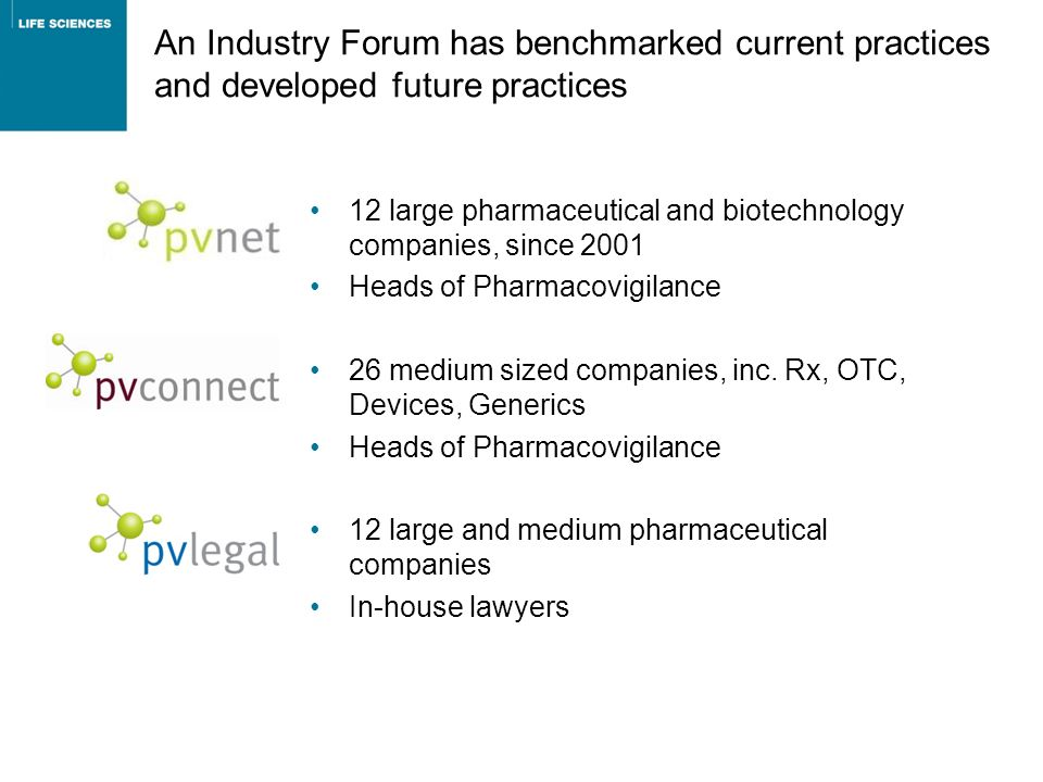 An Industry Forum has benchmarked current practices and developed future practices 12 large pharmaceutical and biotechnology companies, since 2001 Hea