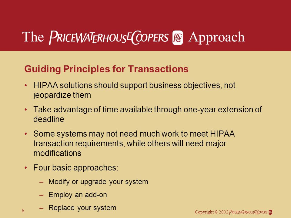 Copyright © 2002 5 Guiding Principles for Transactions HIPAA solutions should support business objectives, not jeopardize them Take advantage of time available through one-year extension of deadline Some systems may not need much work to meet HIPAA transaction requirements, while others will need major modifications Four basic approaches: –Modify or upgrade your system –Employ an add-on –Replace your system –Have someone process transactions for you.