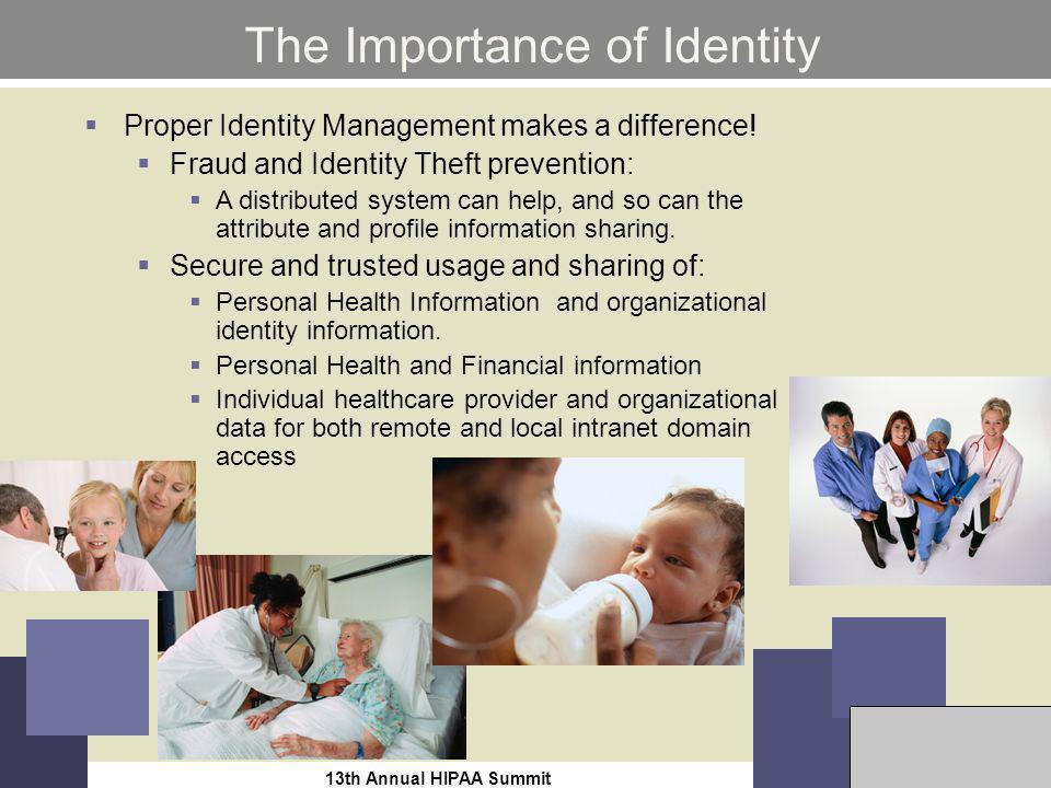 13th Annual HIPAA Summit10 The Importance of Identity Proper Identity Management makes a difference.
