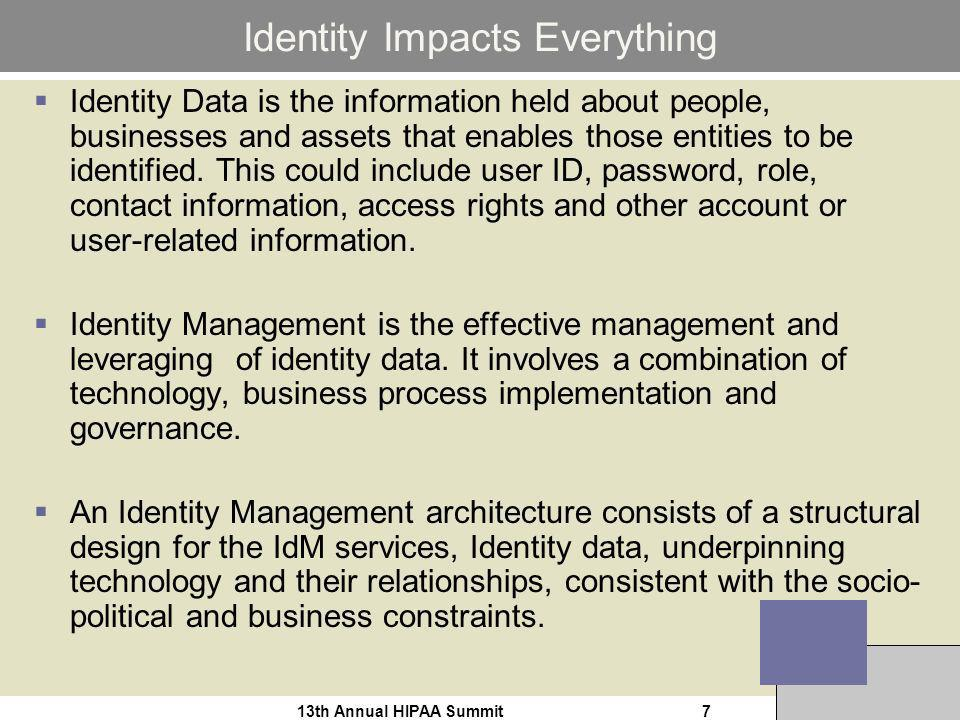 13th Annual HIPAA Summit7 Identity Impacts Everything Identity Data is the information held about people, businesses and assets that enables those entities to be identified.