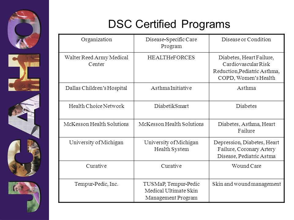 DSC Certified Programs OrganizationDisease-Specific Care Program Disease or Condition Walter Reed Army Medical Center HEALTHeFORCESDiabetes, Heart Fai