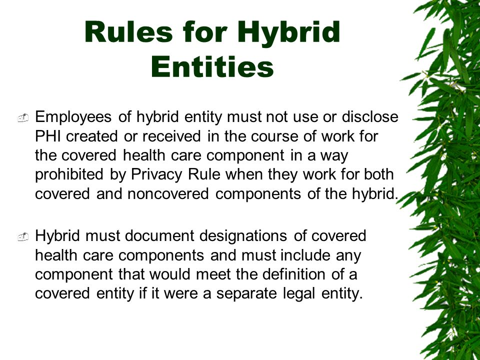 Department of Health Services (DHS) is a hybrid entity under HIPAA Hybrid entity is a single legal entity which contains both covered and non-covered