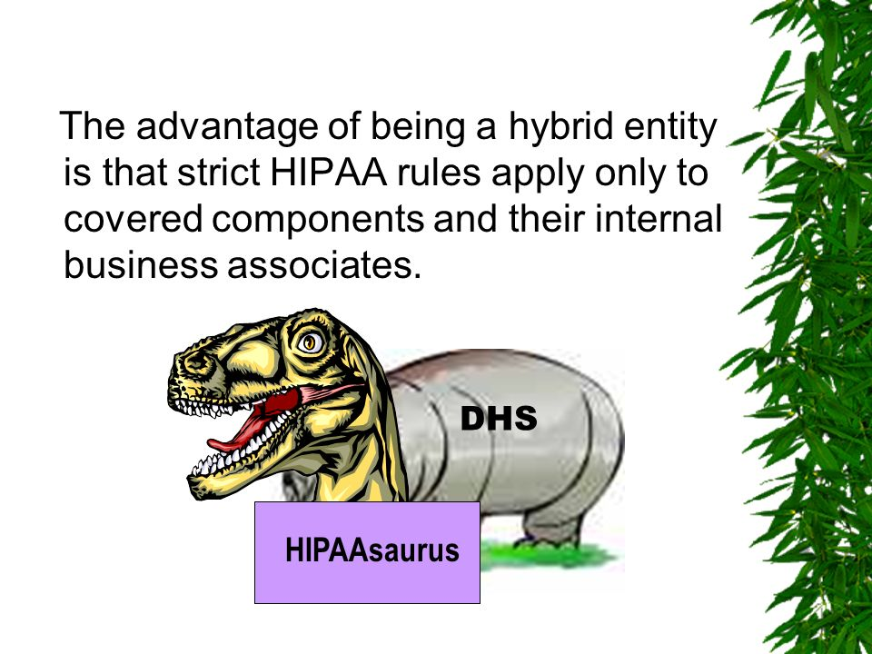 Rules for Hybrid Entities Employees of hybrid entity must not use or disclose PHI created or received in the course of work for the covered health car