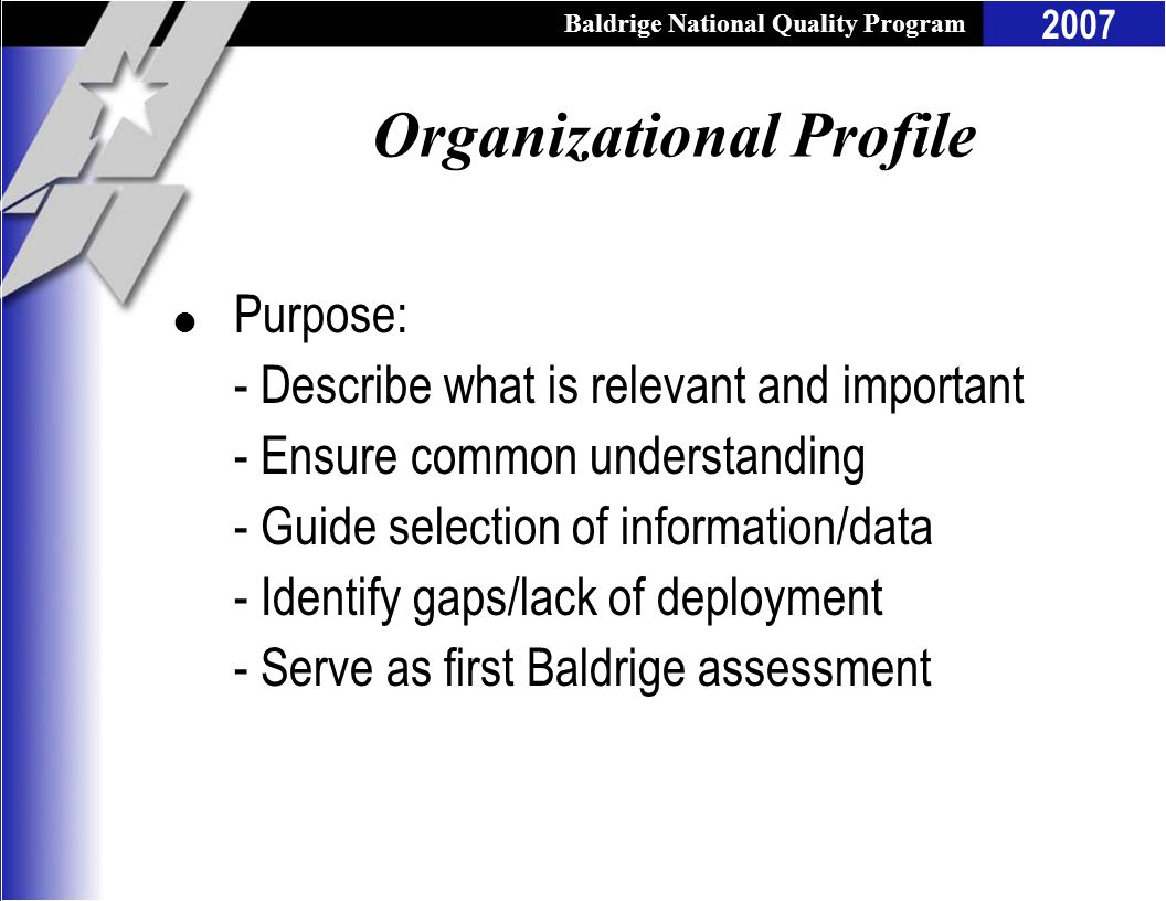 Baldrige National Quality Program 2007 Organizational Profile l Purpose: - Describe what is relevant and important - Ensure common understanding - Gui