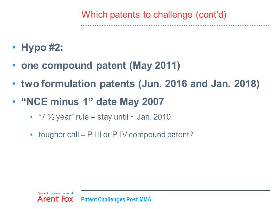 Patent Challenges Post-MMA Which patents to challenge (contd) Hypo #2: one compound patent (May 2011) two formulation patents (Jun. 2016 and Jan. 2018