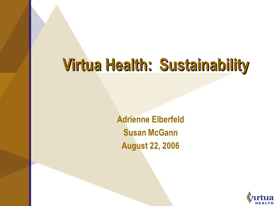 August 2006 Virtua Health: Sustainability Adrienne Elberfeld Susan McGann August 22, 2006