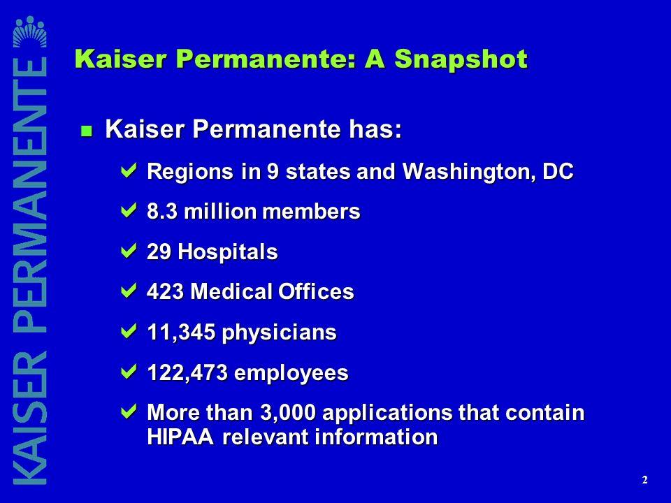 2 Kaiser Permanente: A Snapshot n Kaiser Permanente has: Regions in 9 states and Washington, DC Regions in 9 states and Washington, DC 8.3 million mem