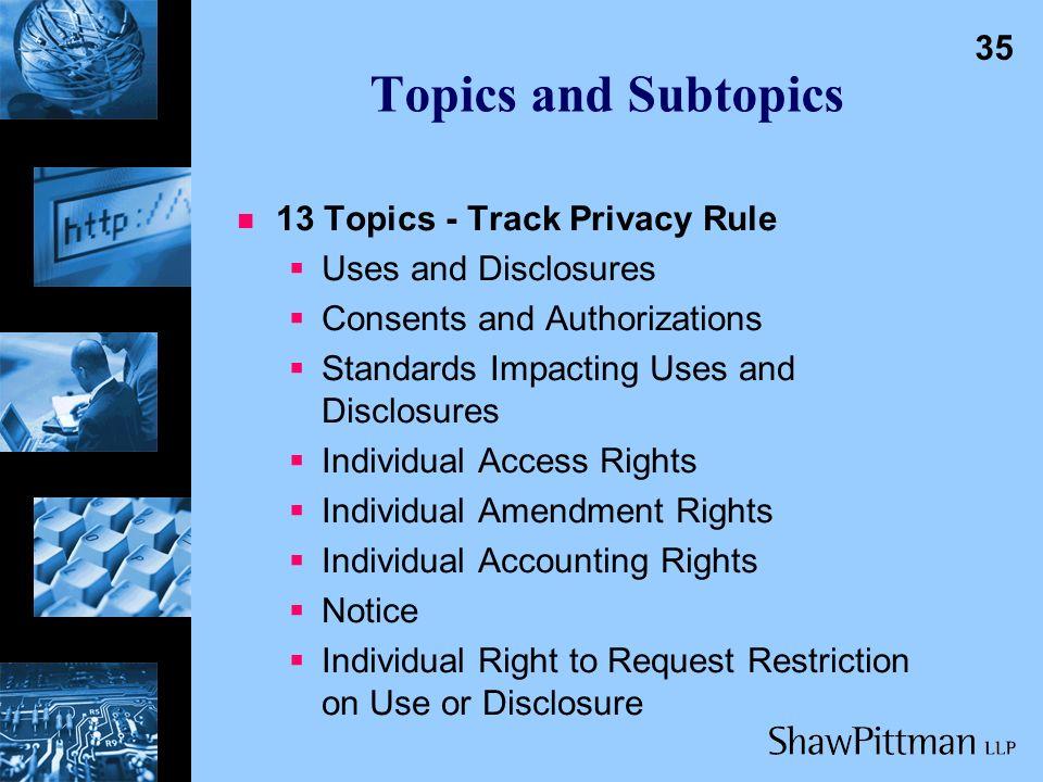 Topics and Subtopics 34