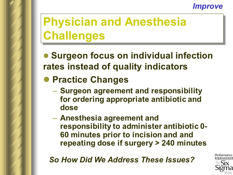 –Surgeon agreement and responsibility for ordering appropriate antibiotic and dose –Anesthesia agreement and responsibility to administer antibiotic 0- 60 minutes prior to incision and and repeating dose if surgery > 240 minutes Physician and Anesthesia Challenges Improve Surgeon focus on individual infection rates instead of quality indicators Practice Changes So How Did We Address These Issues … So How Did We Address These Issues
