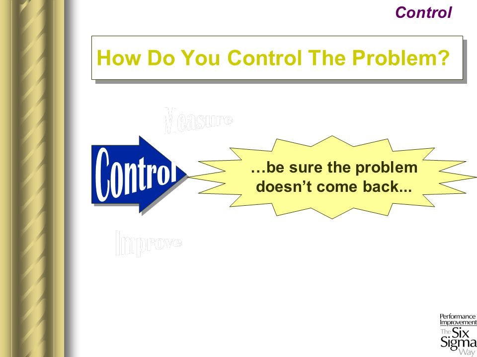 …be sure the problem doesnt come back... Control How Do You Control The Problem?