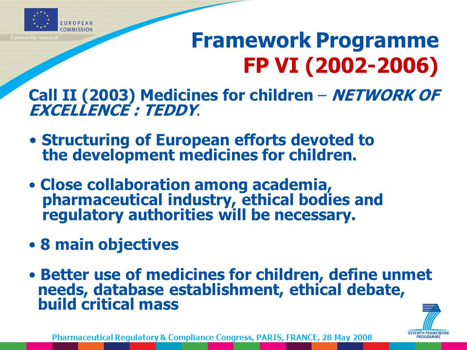 Pharmaceutical Regulatory & Compliance Congress, PARIS, FRANCE, 28 May 2008 Framework Programme FP VI (2002-2006) Call II (2003) Medicines for children – NETWORK OF EXCELLENCE : TEDDY.
