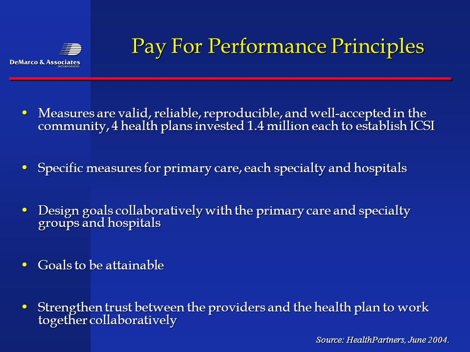 Pay For Performance Principles Measures are valid, reliable, reproducible, and well-accepted in the community, 4 health plans invested 1.4 million eac